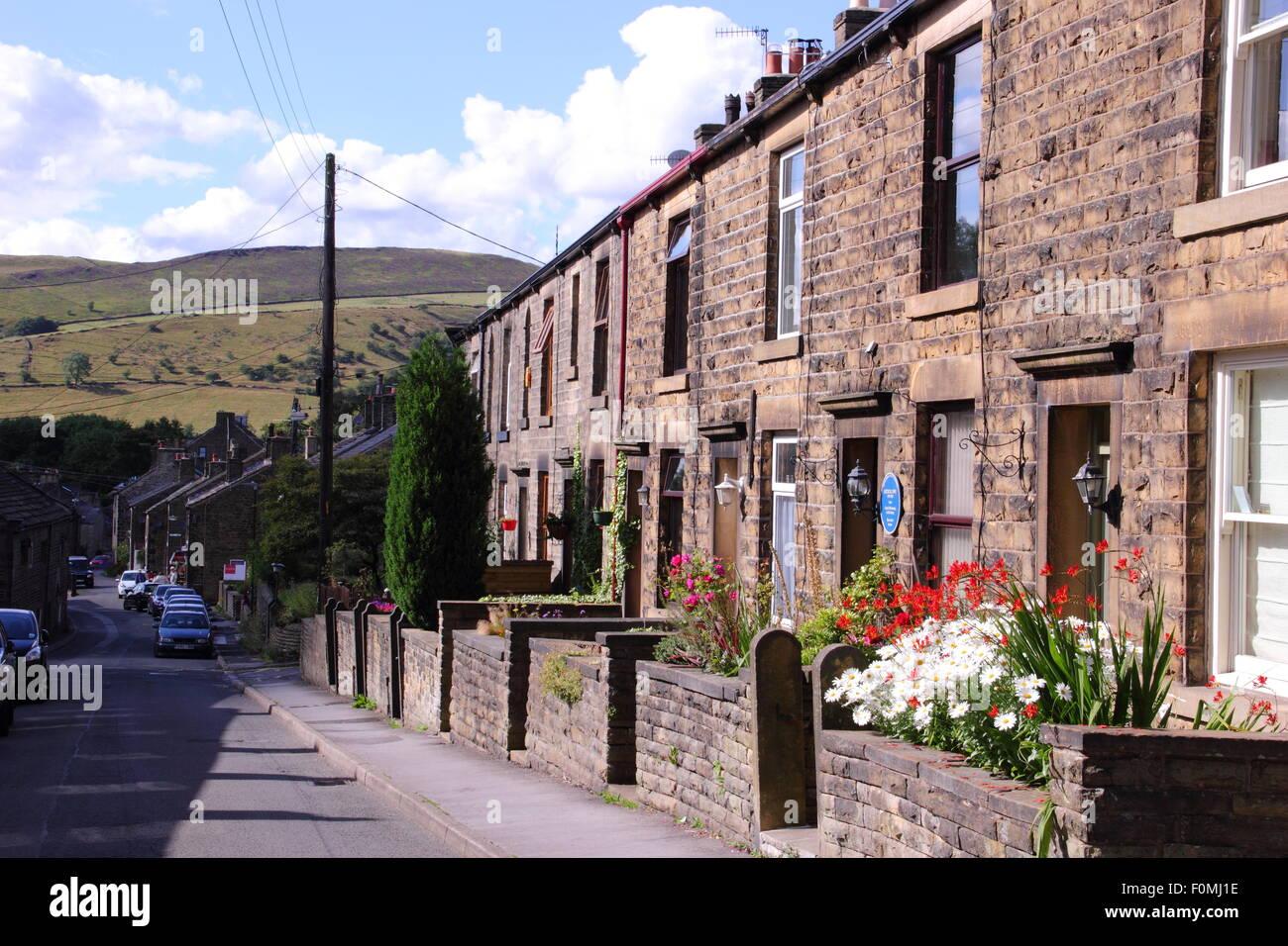 Kinder Road in Hayfield , Peak District, Derbyshire, northern England UK - Stock Image