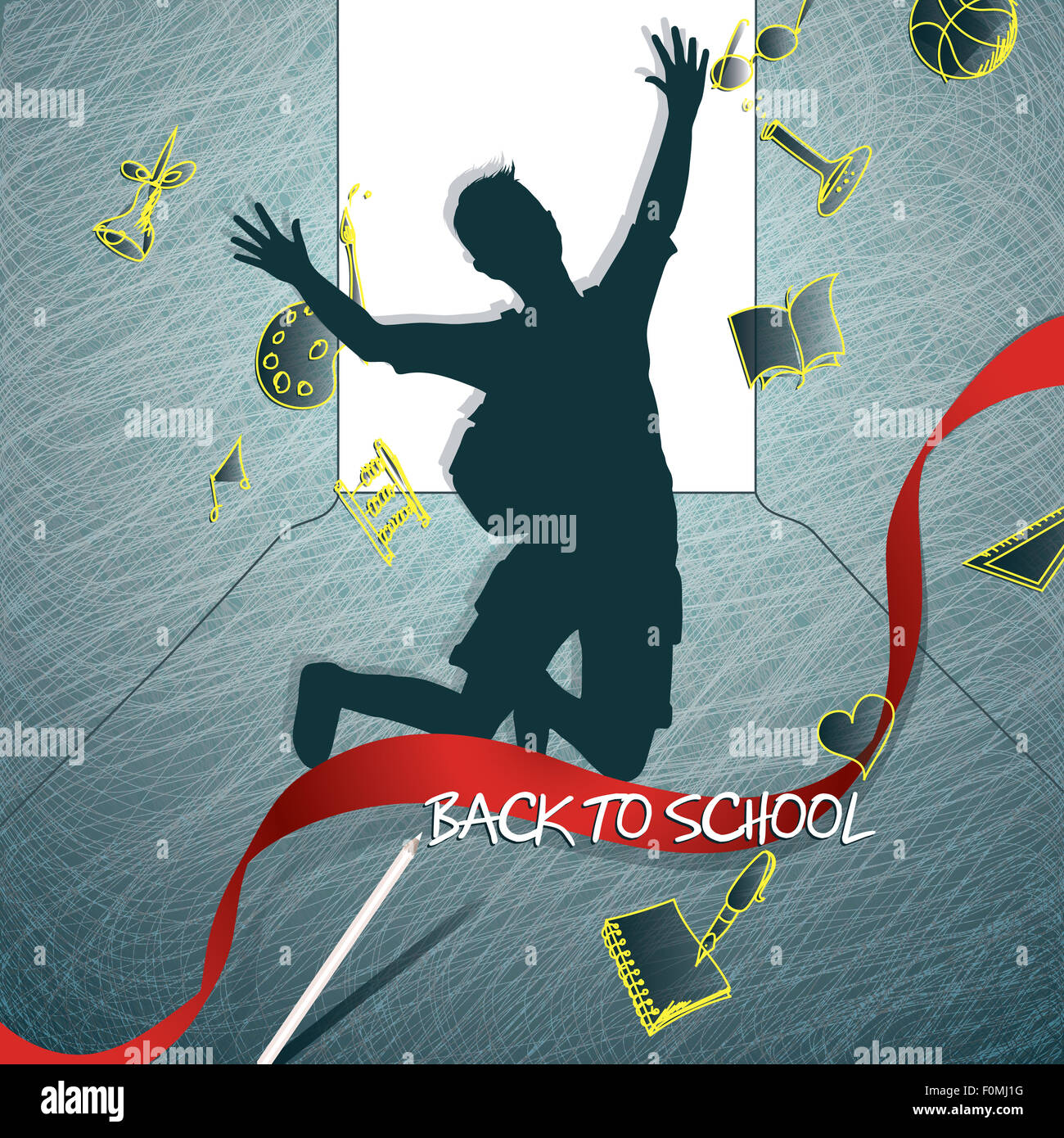 Happy student silhouette back to school Stock Photo