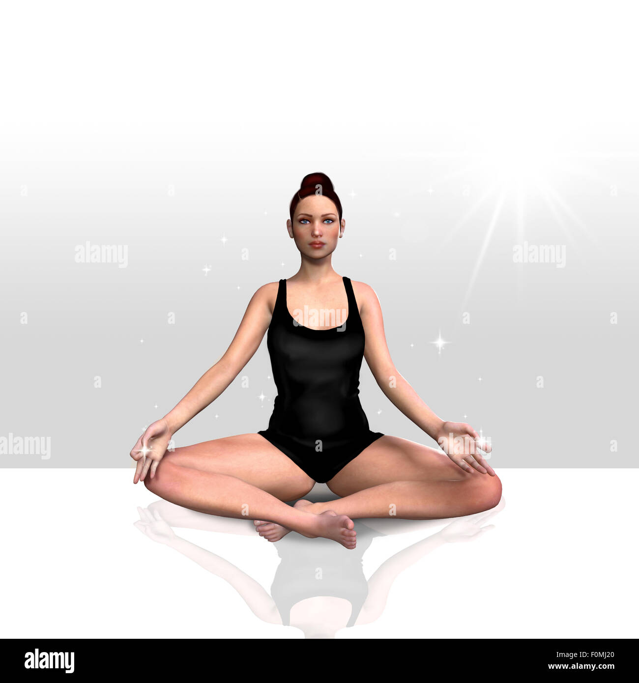 3d render of a female doing yoga over a clean background Stock Photo