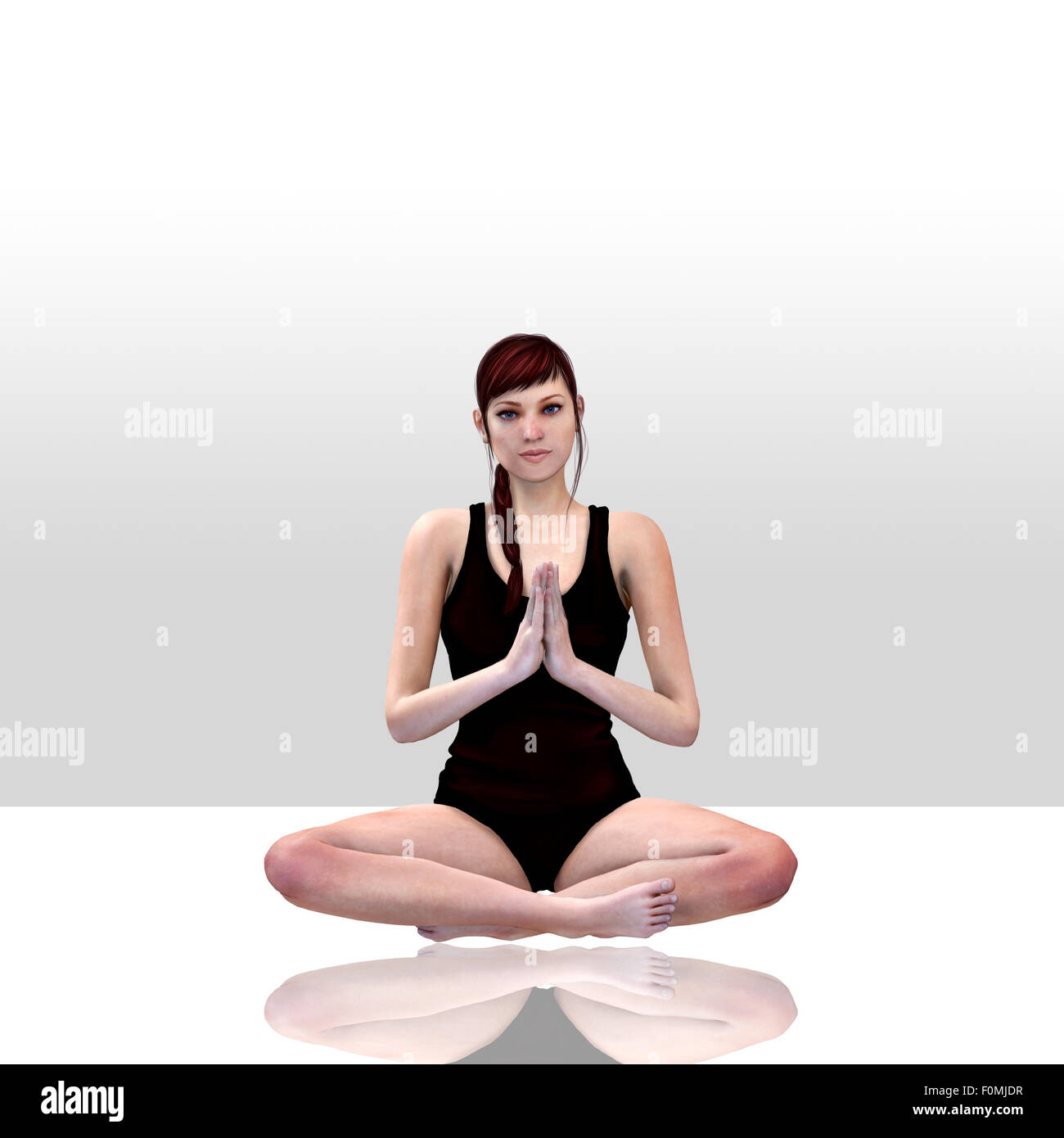 3d render of a female doing yoga Stock Photo