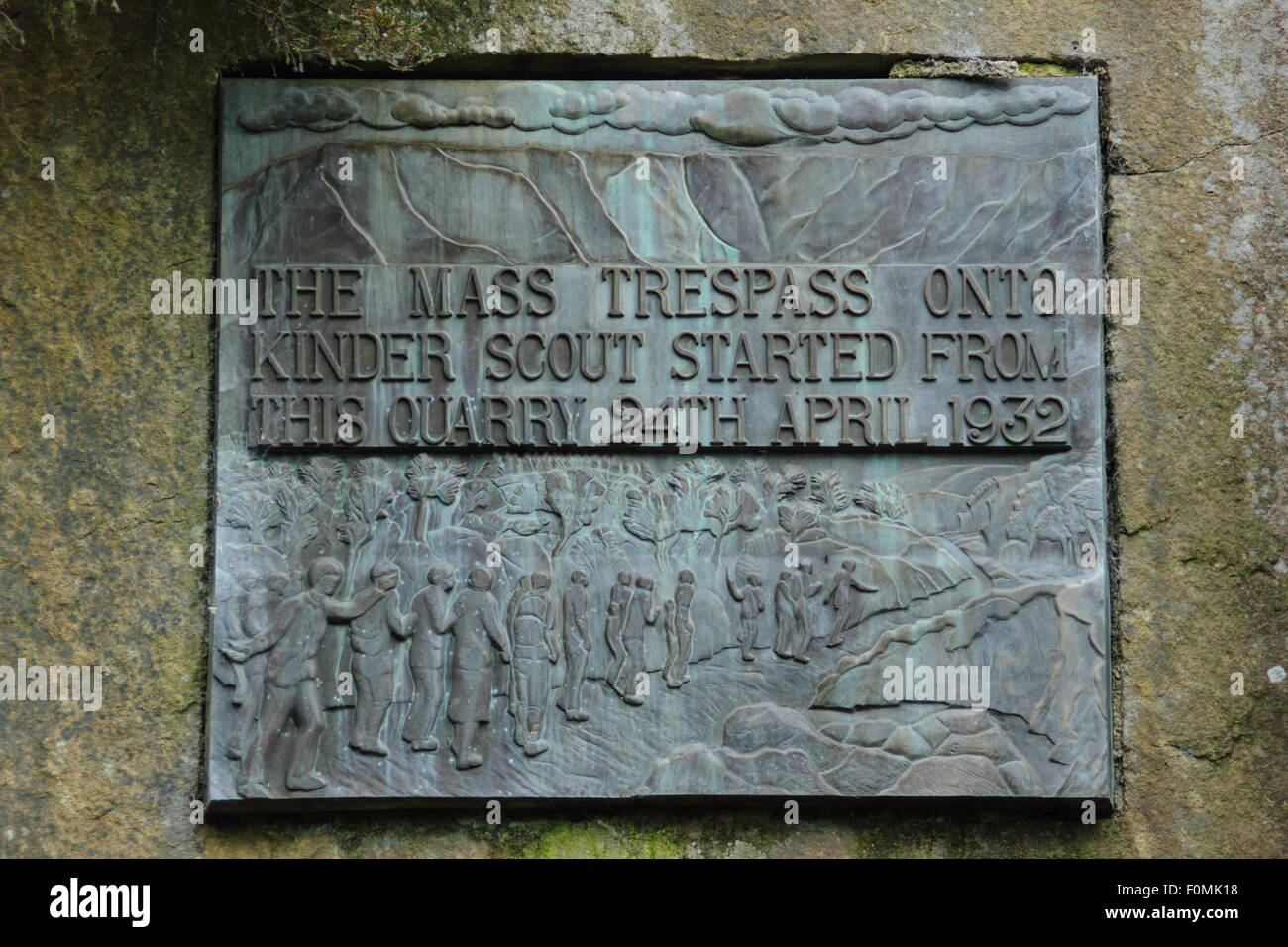 A plaque commemorating the mass trespass of kinder scout by walkers, Bowden Bridge quarry car park, near Hayfield, - Stock Image