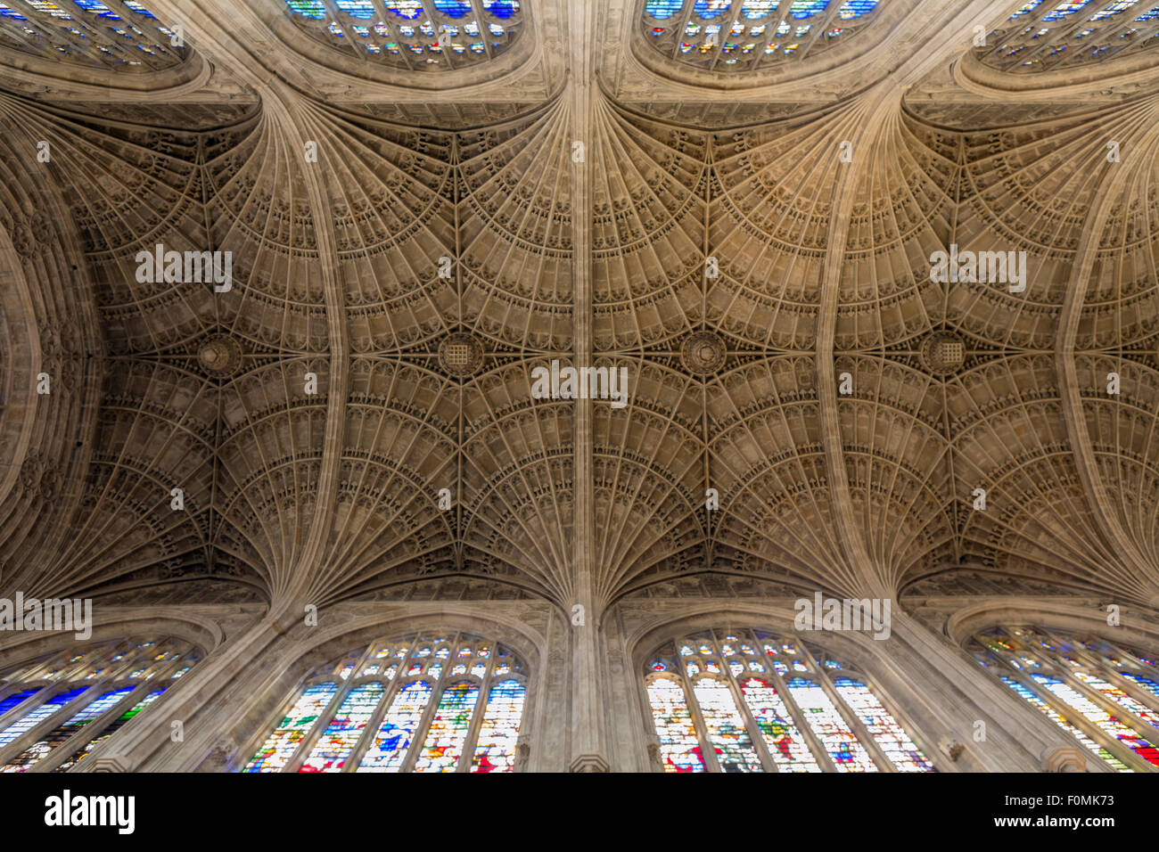 King's college chapel, Gothic fan vaulting - Stock Image
