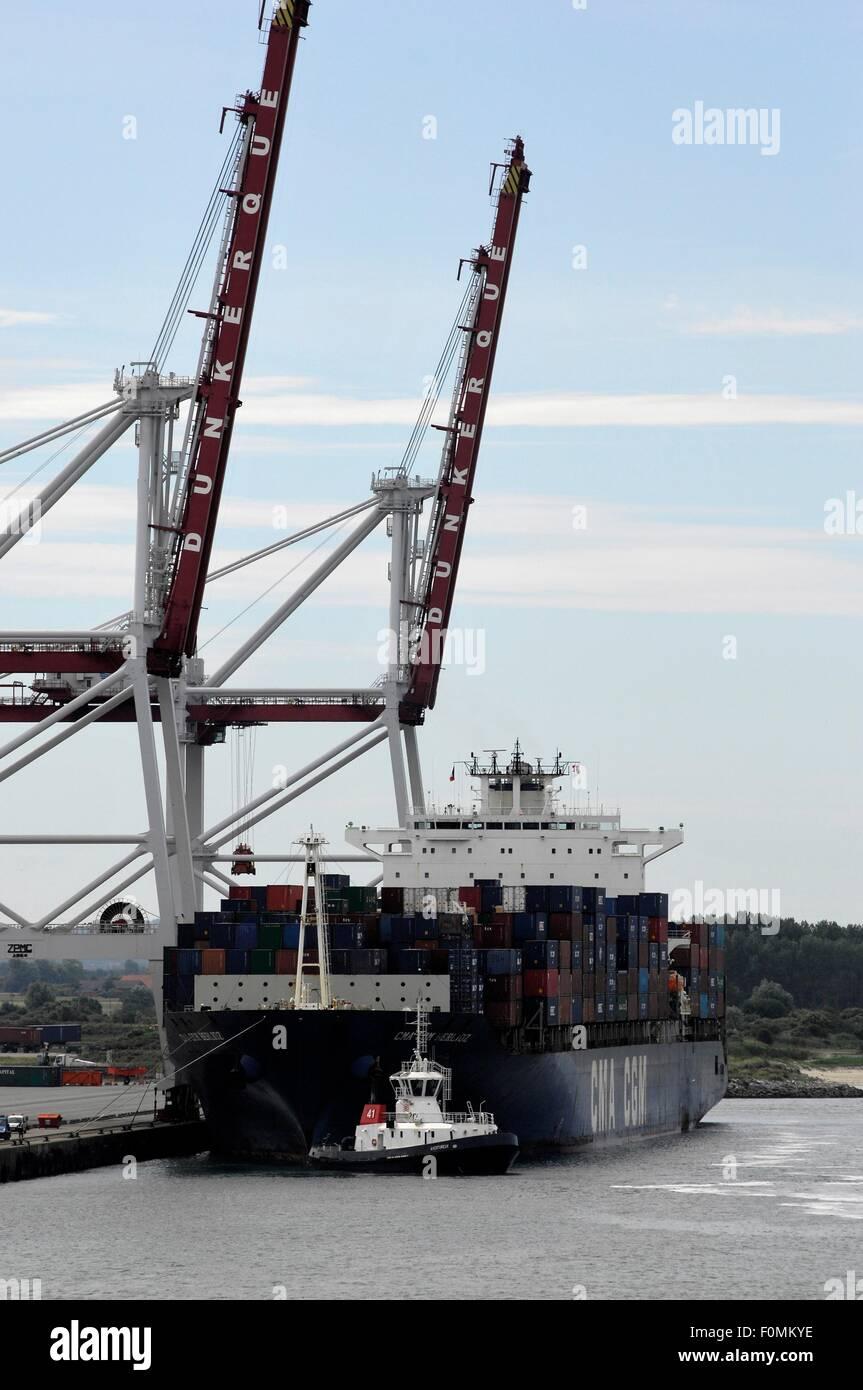 AJAXNETPHOTO.  2015. DUNKERQUE, FRANCE. - FREIGHT - CONTAINER SHIP CMA CGM BERLIOZ IN PORT.PHOTO:JONATHAN EASTLAND/AJAX Stock Photo