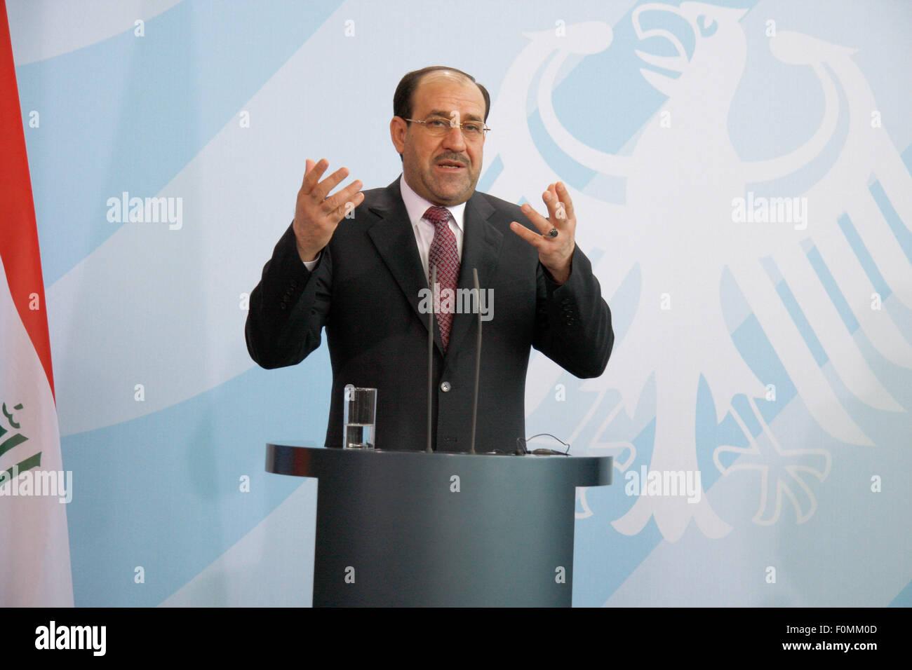 Nouri Al-Maliki  - Presseunterrichtung nach einem Treffen des irakischen Ministerpraesidenten mit der Bundeskanzlerin, - Stock Image