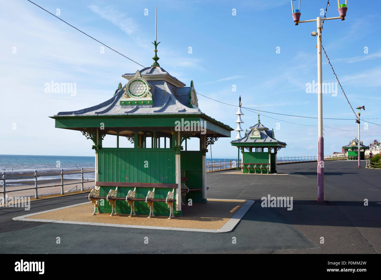 Victorian shelters on the promenade in Blackpool, Lancashire - Stock Image