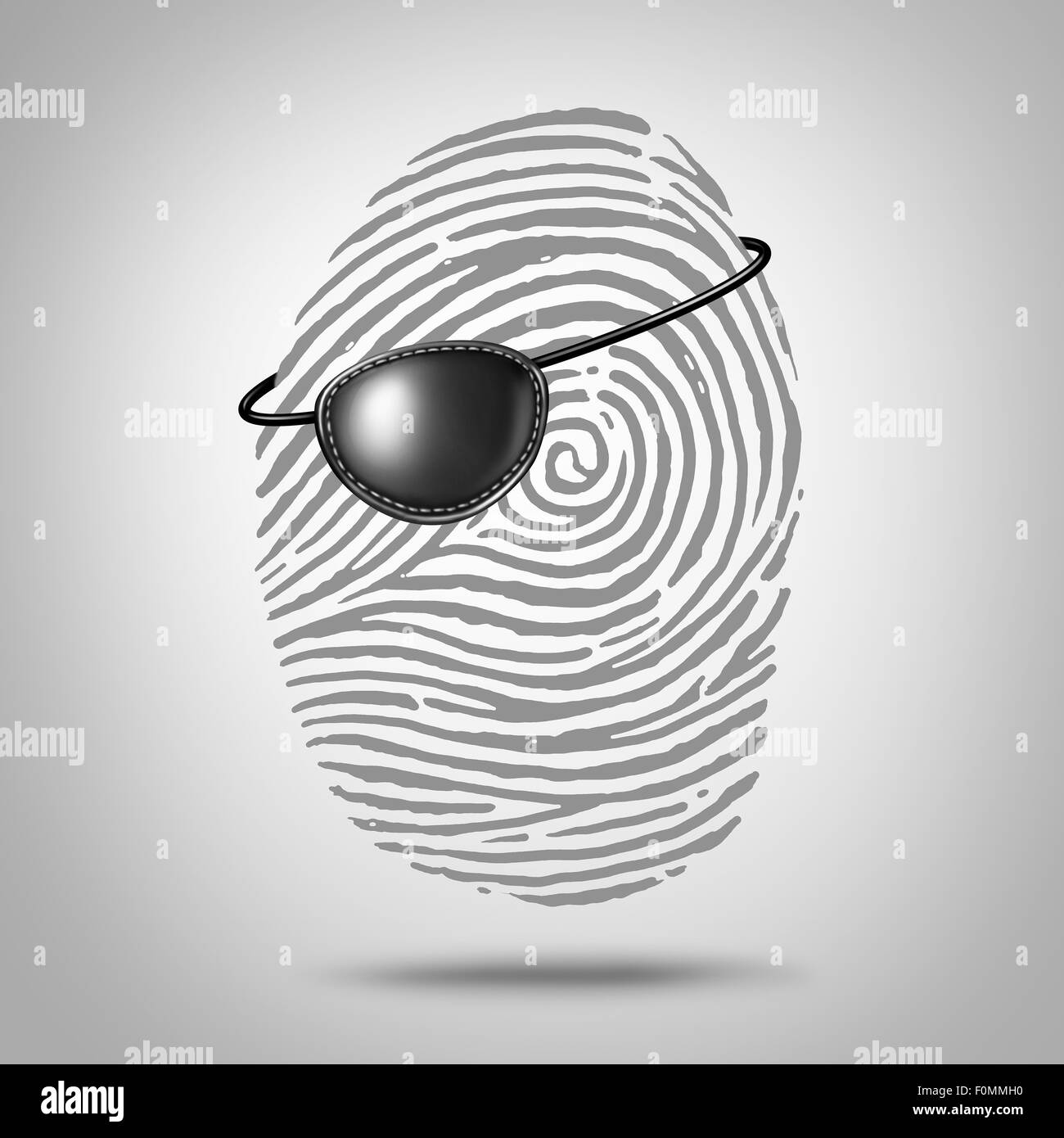 Privacy piracy concept and identity theft symbol as a finger print or fingerprint icon with a pirate eye patch as - Stock Image