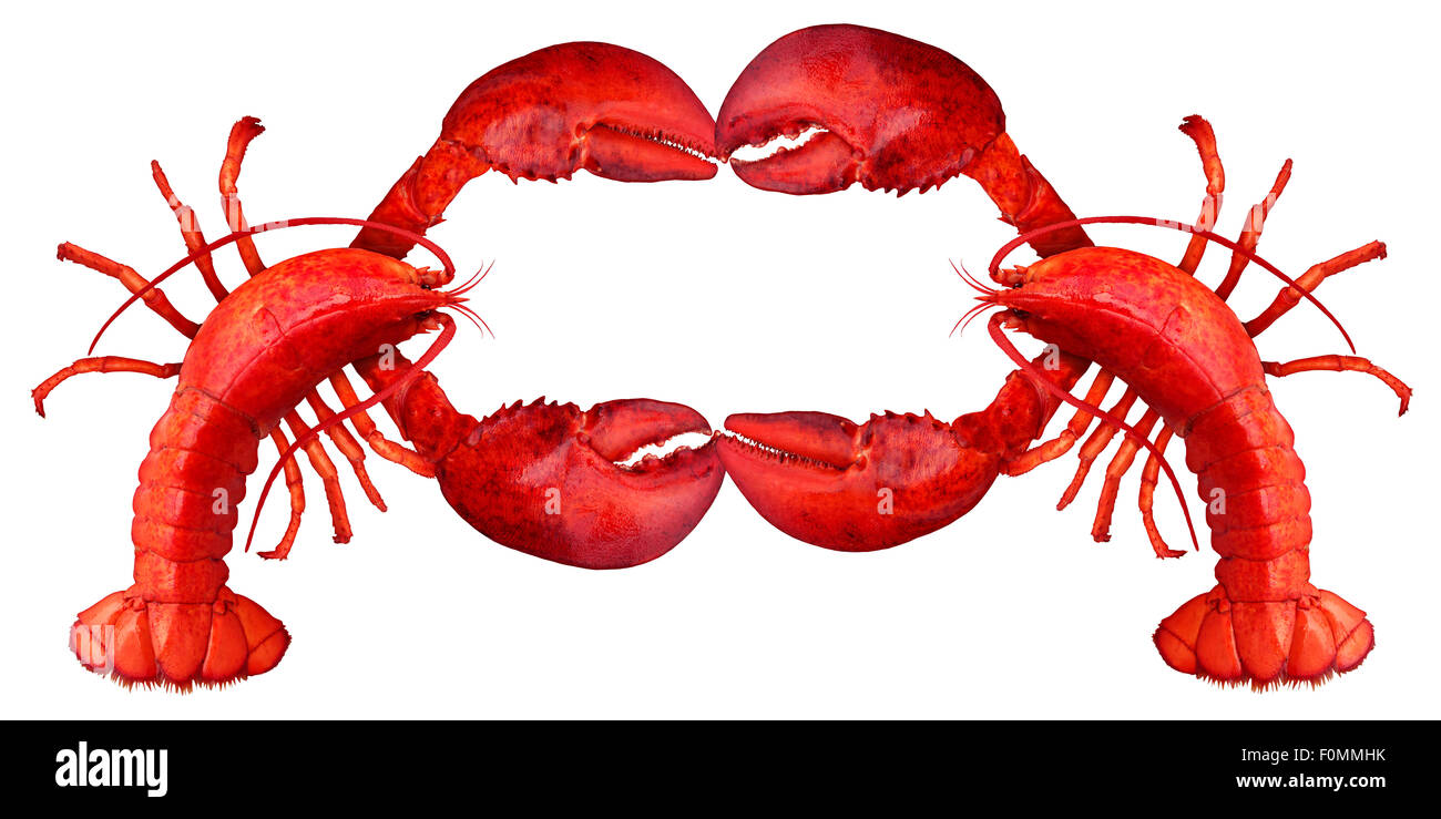 Lobster blank sign with claws creating a frame with copy space as a fresh fish or seafood message and shellfish - Stock Image