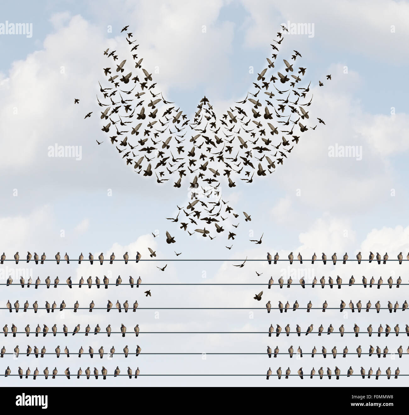 Successful organization business concept as a group of birds on a wire with a team flying away and forming a flying - Stock Image