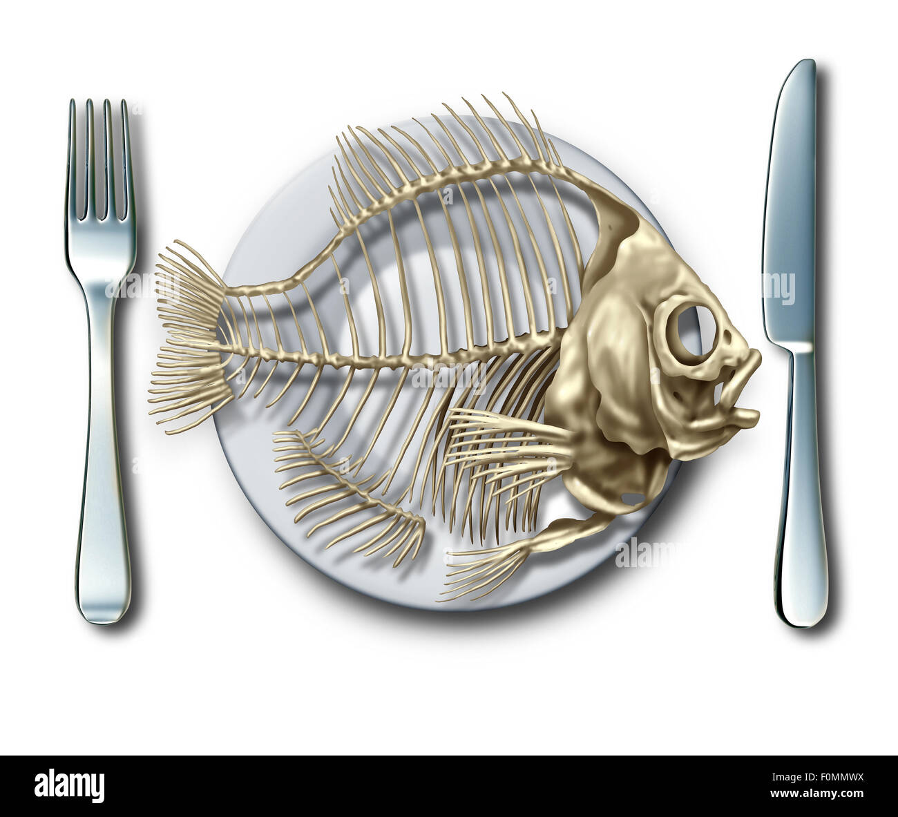 To the bone concept eating fish or bankrupt idea as a place setting with a fork and knife with an empty seafood - Stock Image