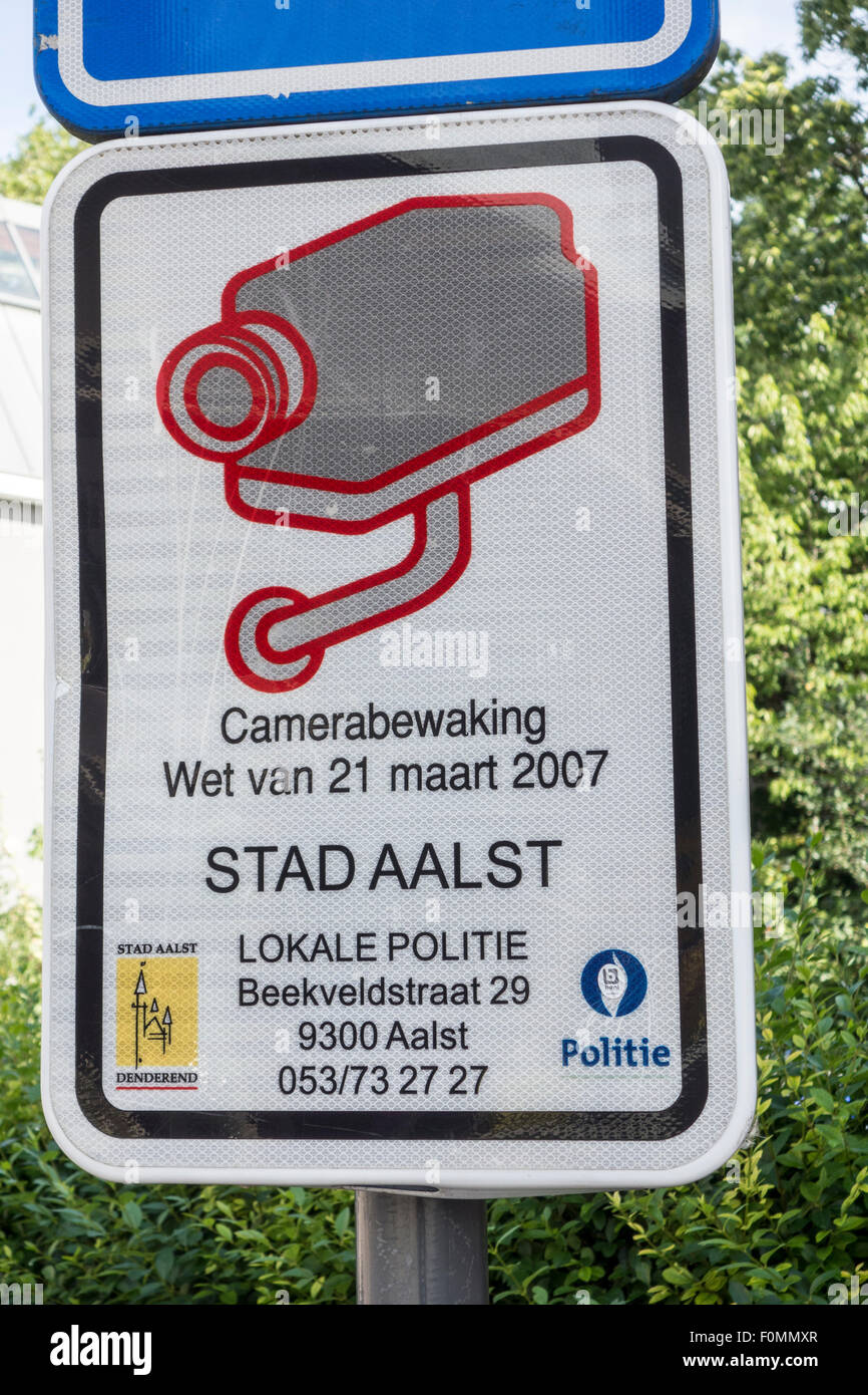 Camera surveillance sign in the city Aalst / Alost, Flanders, Belgium - Stock Image