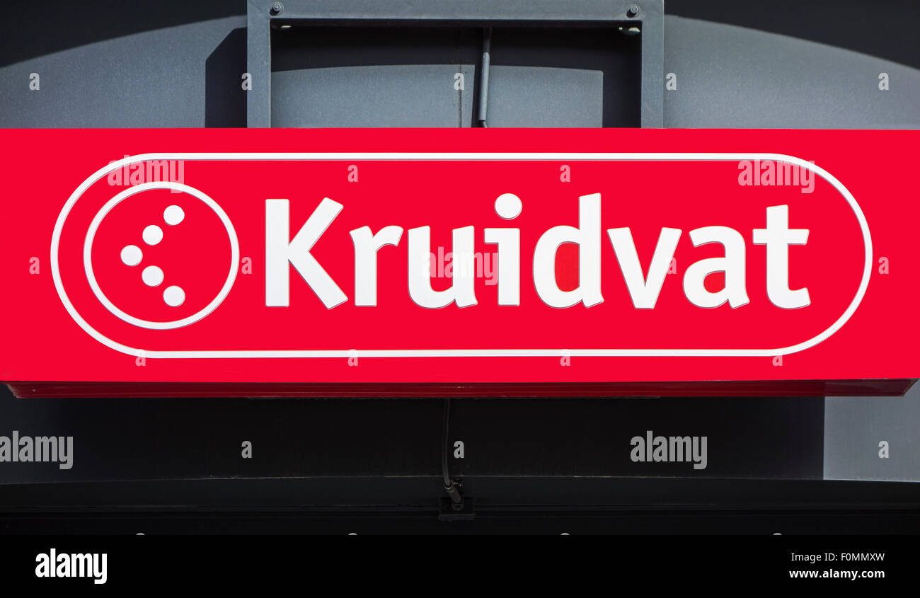 Sign with logo of Kruidvat, Dutch retail, pharmacy and drugstore chain specialised in health and beauty products - Stock Image