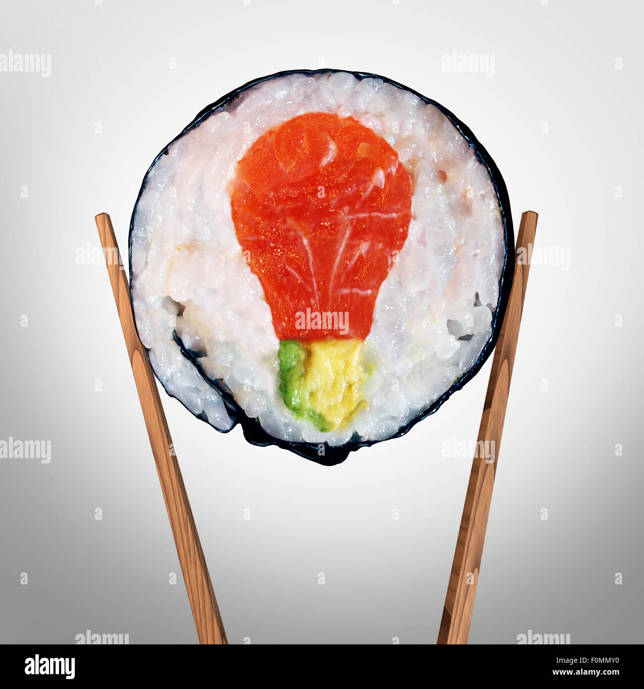 Sushi idea and Japanese food concept as a sushi roll with raw salmon and avocado shaped as a light bulb representing - Stock Image