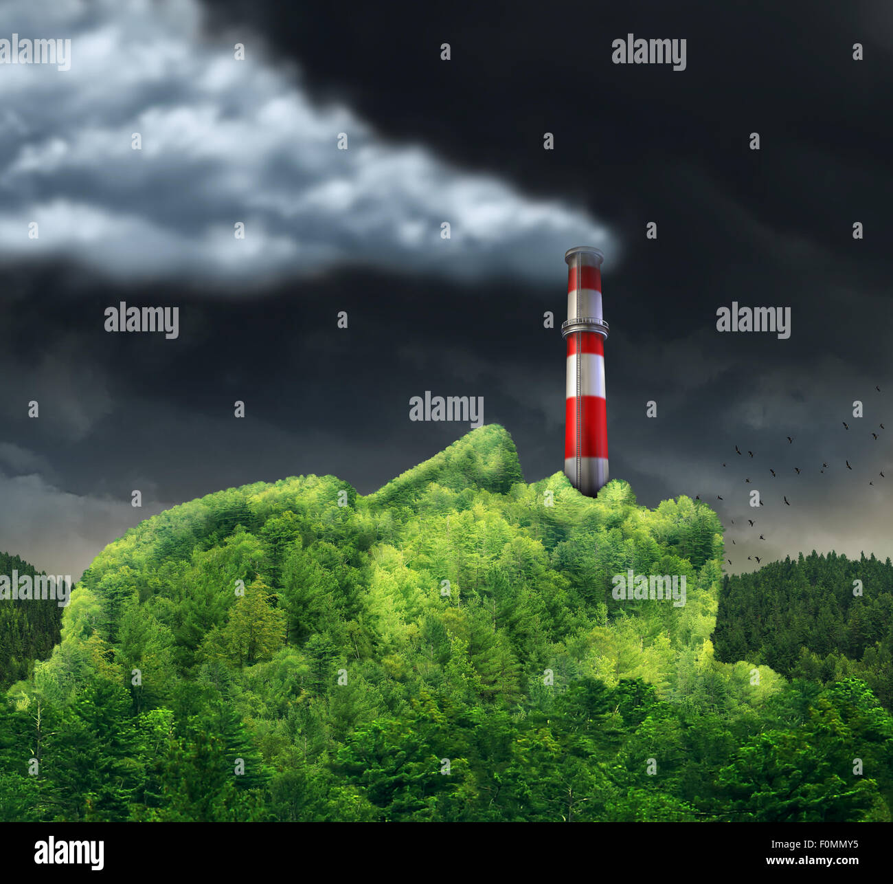 Pollution concept and environment change causing global warming as a surreal environmental idea with a green mountain - Stock Image