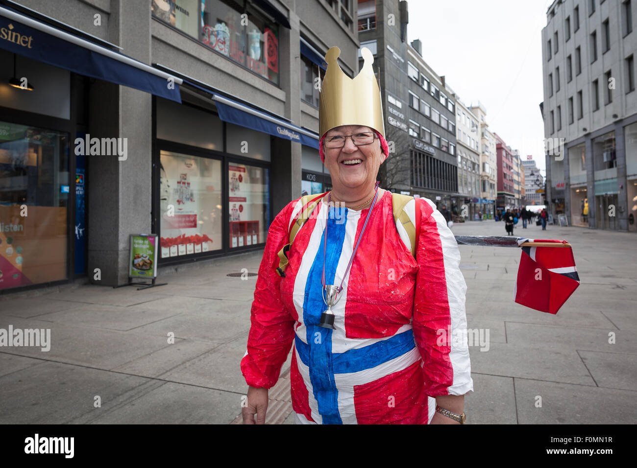 Portrait of a woman in national flag dress. Oslo. Norway. Stock Photo