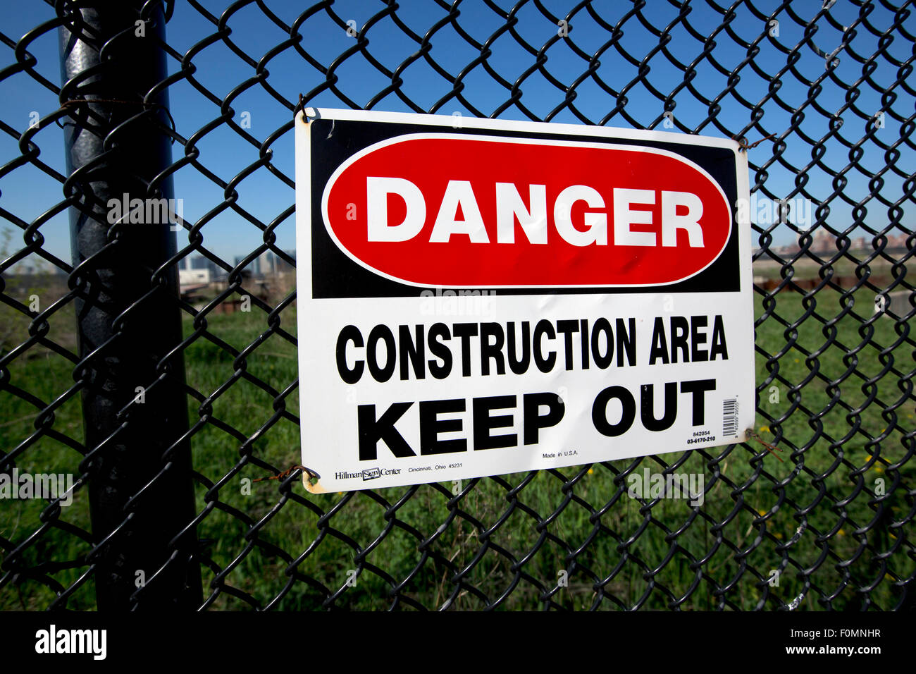 caution sign construction site - Stock Image