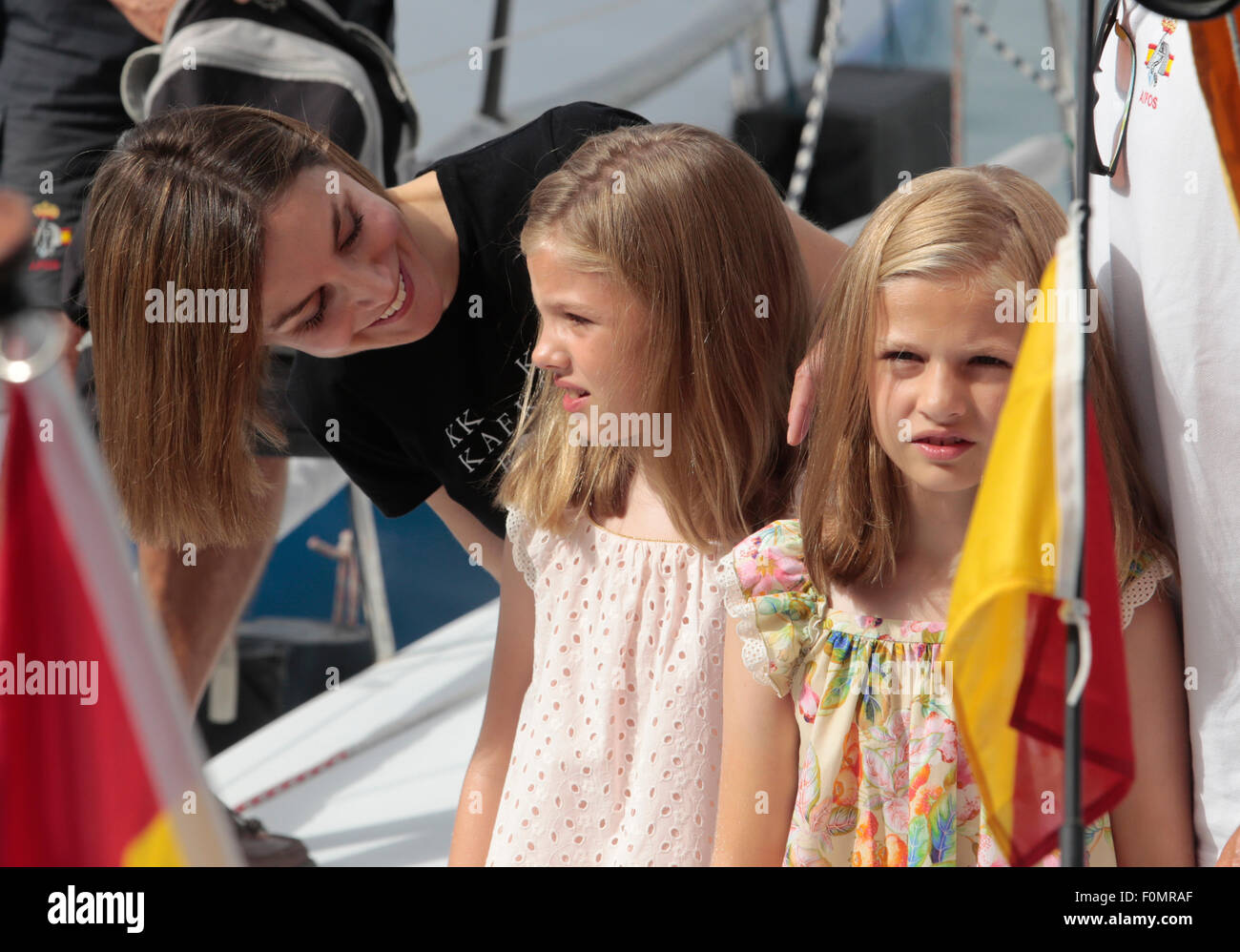 Spain Queen Letizia and Princesses Leonor  (R) and Sofia pose during their summer holidays in Majorca - Stock Image