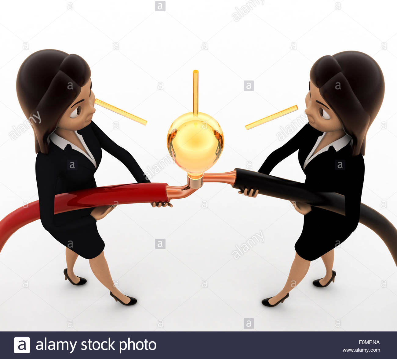3d woman connect wire and light bulb concept on white background ...