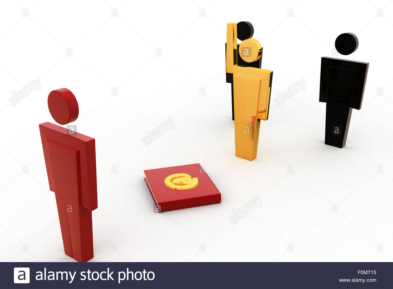3d man select right person concept on white background, side angle view - Stock Image