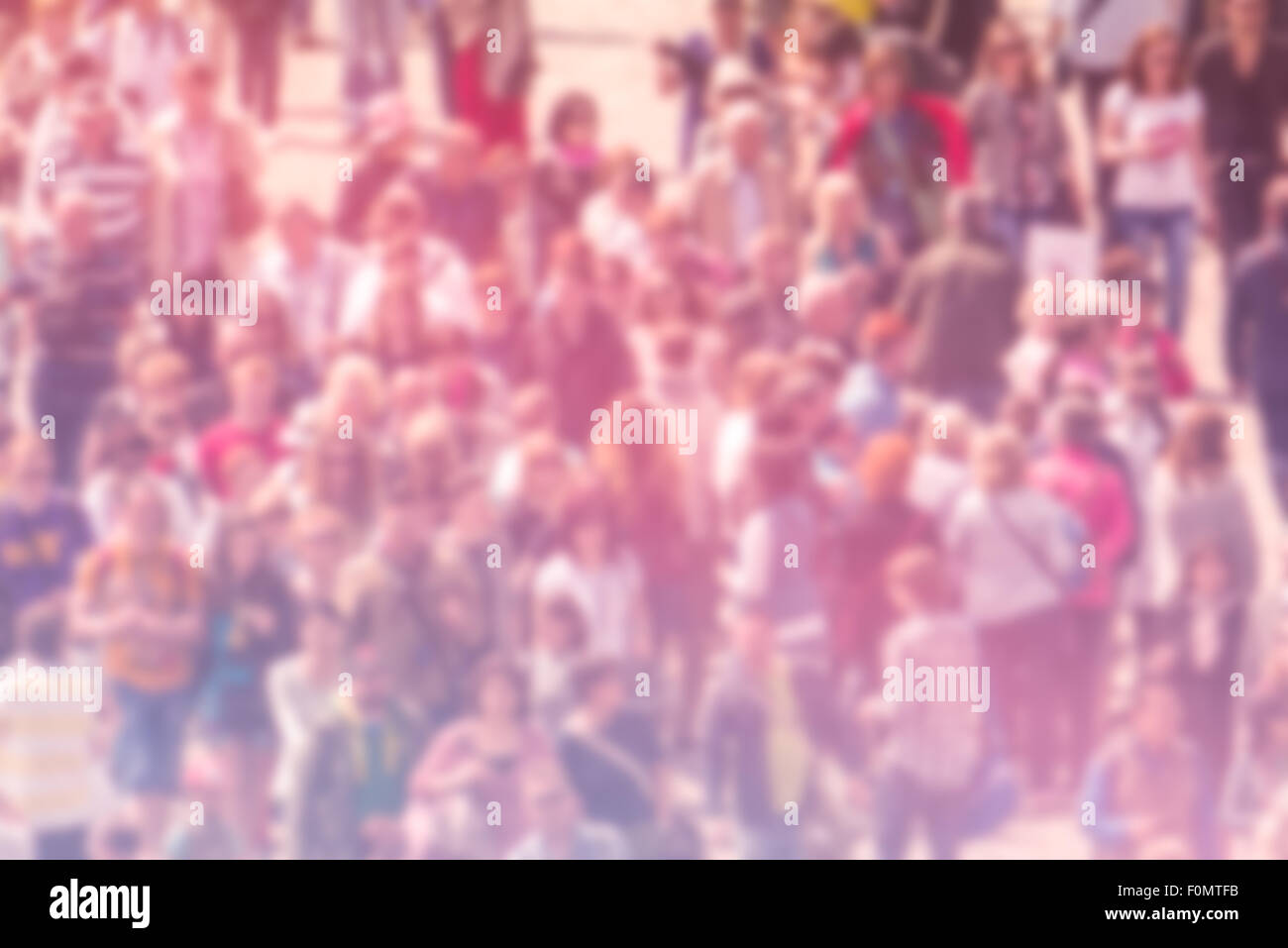 General Public Opinion Blur Background, Aerial View with Unrecognizable Crowded Population Out of Focus, Blurred - Stock Image