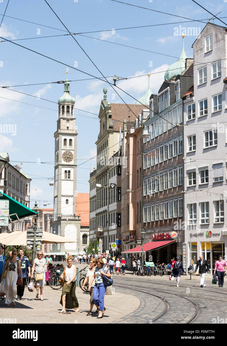 AUGSBURG, GERMANY - JULY 25: Tourists in the city of Augsburg, Germany on July 25, 2015.  It is the 2nd oldest town - Stock Image