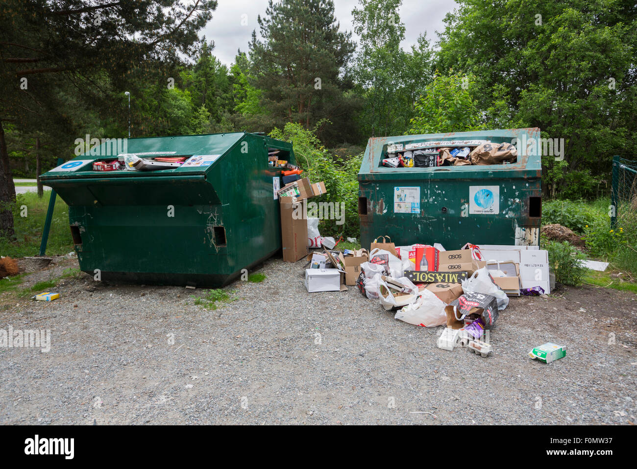 Garbage Containers Full, Overflowing - Stock Image