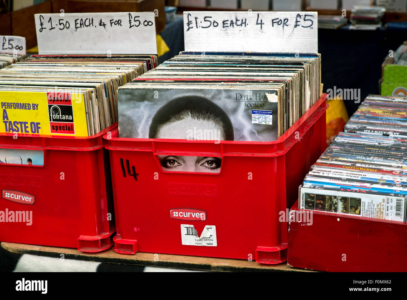 Debbie Harry album sleeve peeking out from a box of secondhand vinyl records on a market stall in the Grassmarket - Stock Image