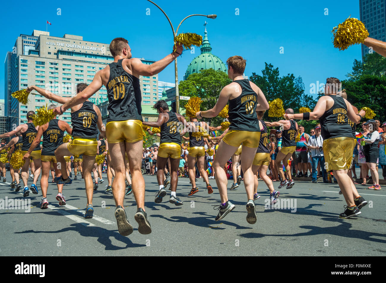 MONTREAL, CANADA, 16th August 2015. A group of gay dancers are performing at the 2015 Gay Pride Parade in Montreal. - Stock Image