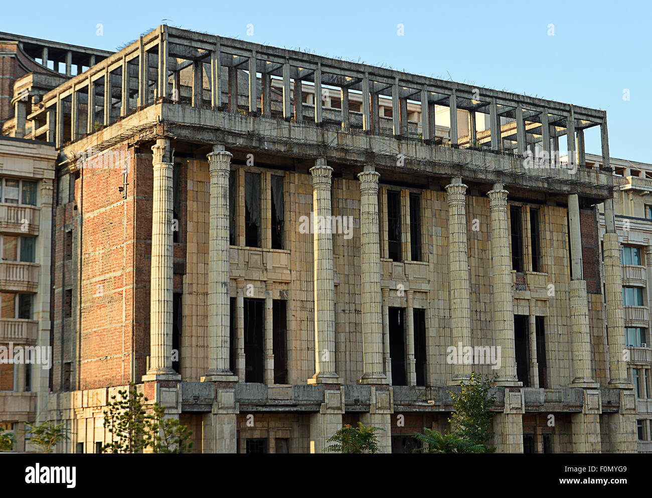 Unfinished Romanian Academy building, Bucharest - Stock Image