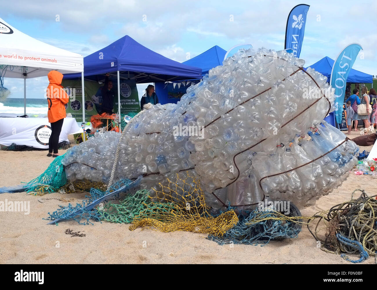 A Whale made out of washed up plastic bottles by local children in Newquay, Cornwall, UK. - Stock Image