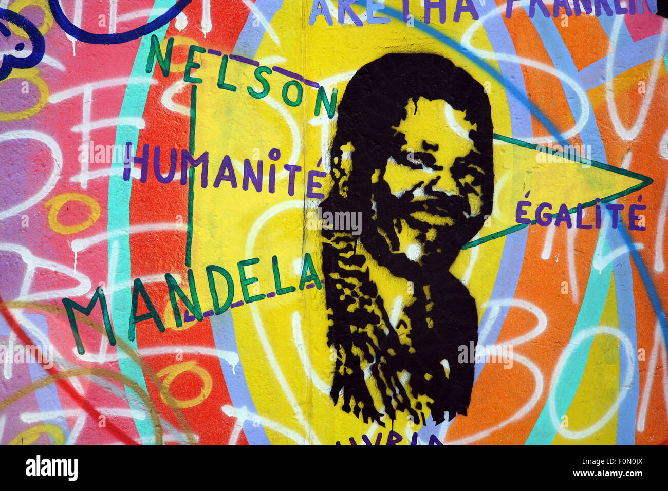 Details Of Painting On The Berlin Wall With The Name Of Mandela And