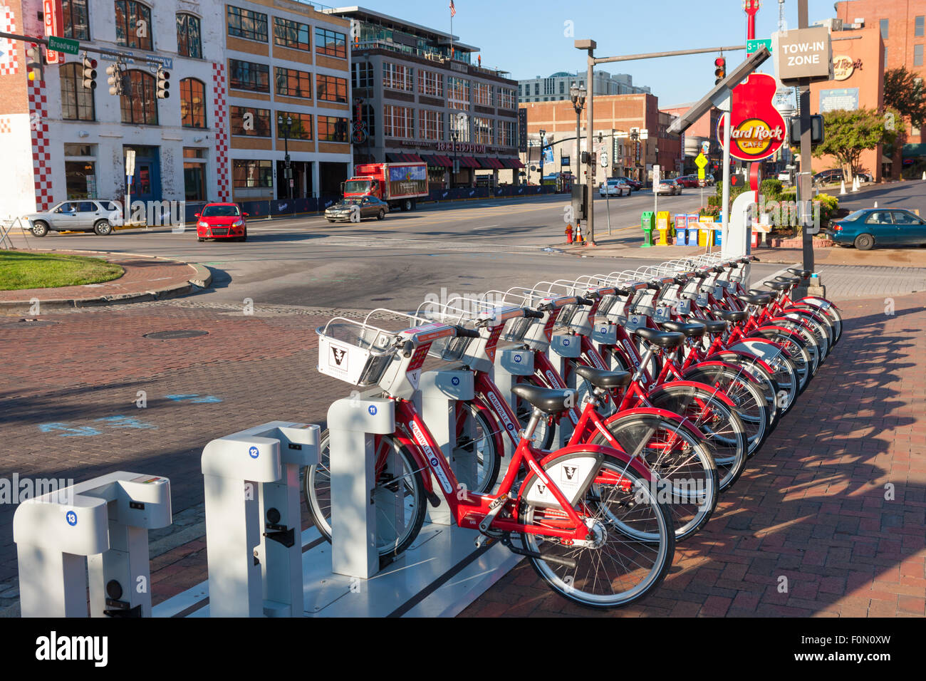 B-cycle bike sharing program bicycles docked at the Riverfront Station B-station in Nashville, Tennessee. - Stock Image