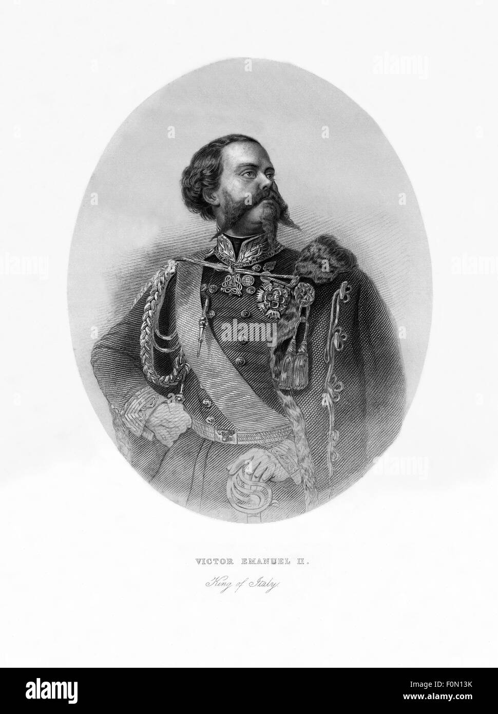 Victor Emmanuel II of Italy, Antique Engraving, 1865 - Stock Image
