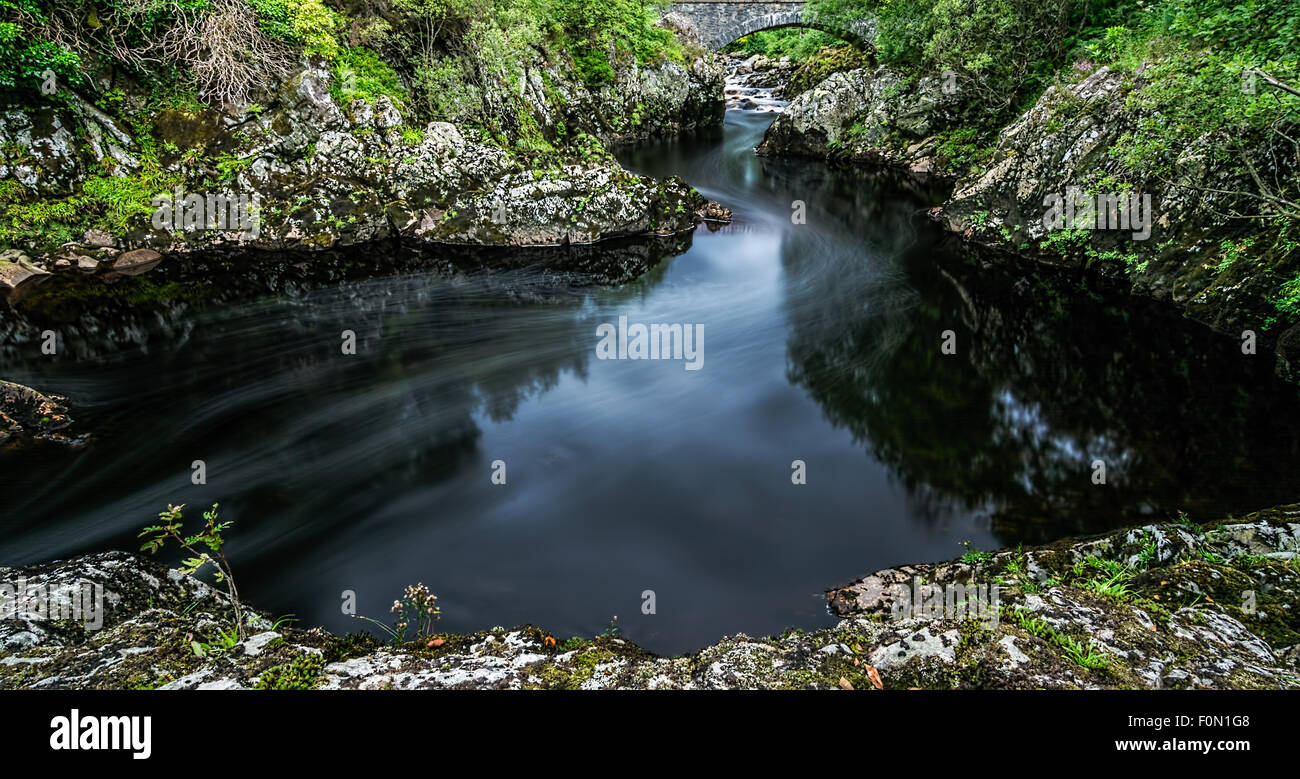 Glentrool in the New Galloway Forest Park  river and pools taken on a long exposure. - Stock Image