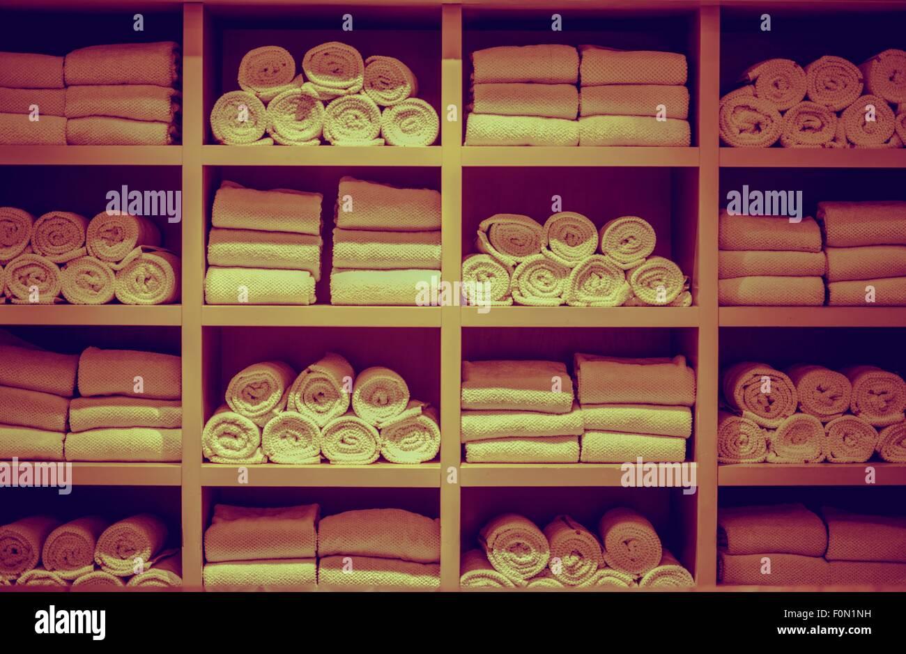 Resort Swimming Pool Towels Wooden Square Rack Closeup Stock ...
