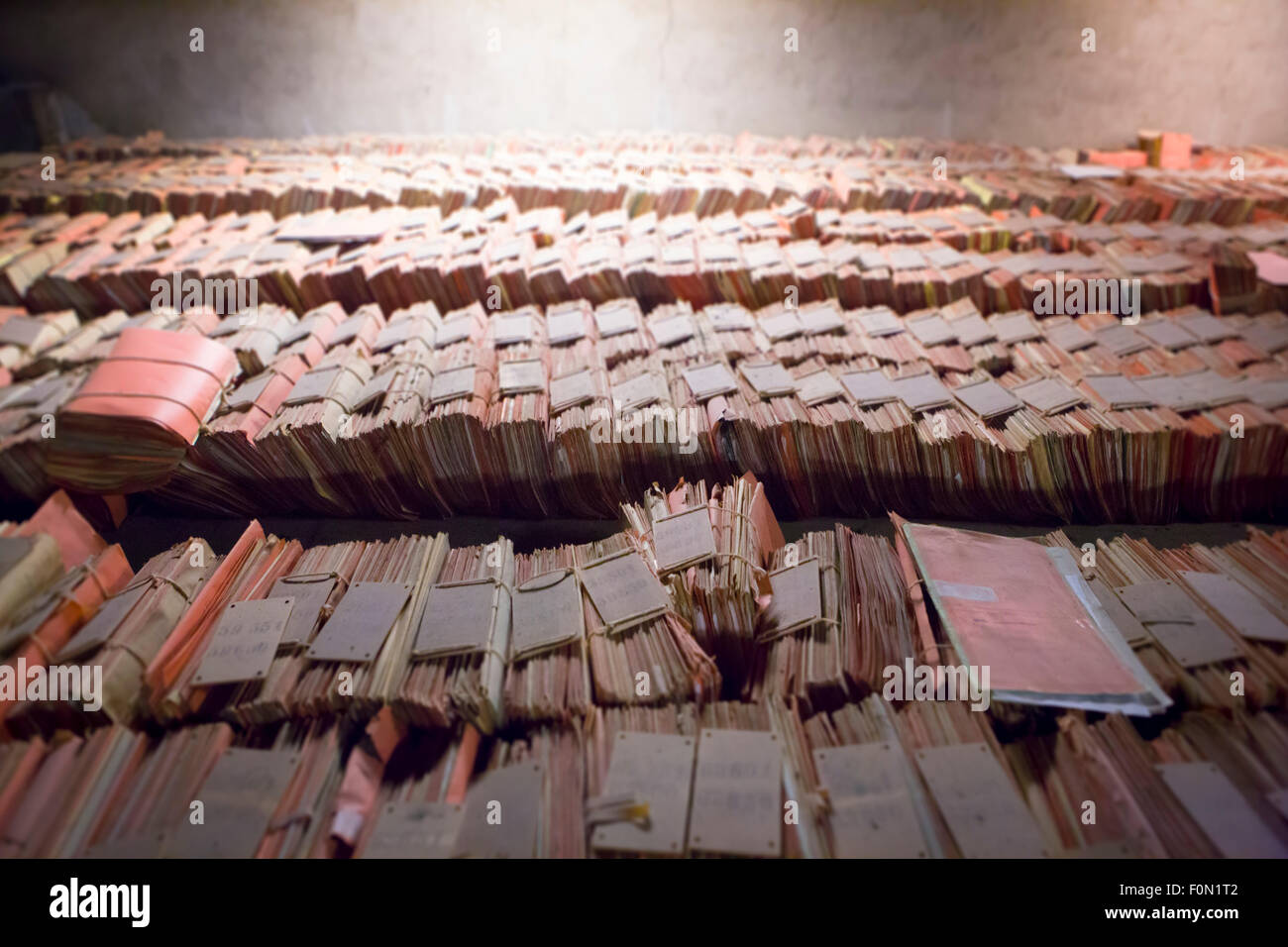 View of the Old files at the high court in Brussels, the picture was taken in the roof of the old building located - Stock Image