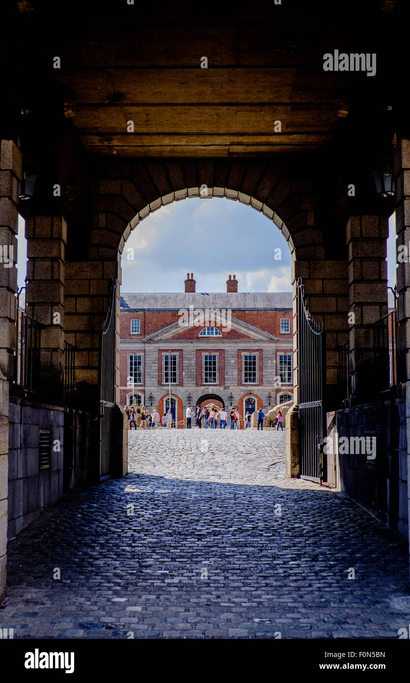 Dublin, Ireland. August 18, 2015. Entrance to courtyard housing state apartments - Stock Image