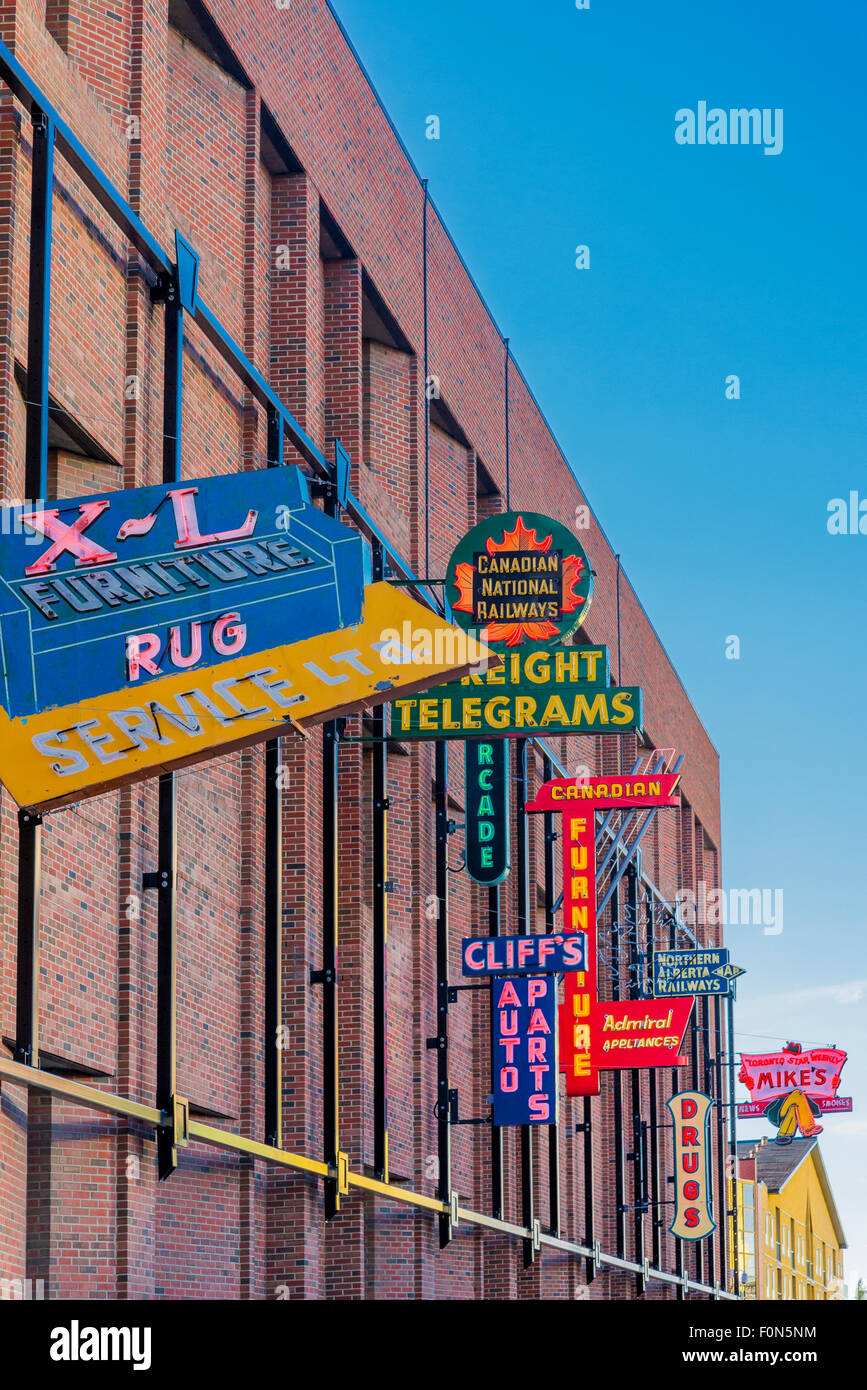 Vintage neon signs, Outdoor Neon Sign Museum, Fourth St. Promenade, Alberta Legislature, Edmonton, Alberta, Canada - Stock Image