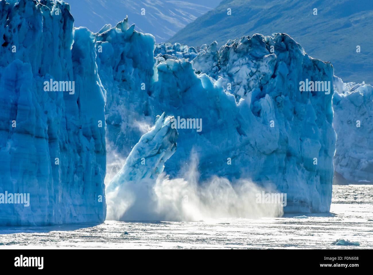 Alaska cruise - calving glacier -  Hubbard glacier -  a melting glacier iceberg calves Disenchantment Bay - St. - Stock Image