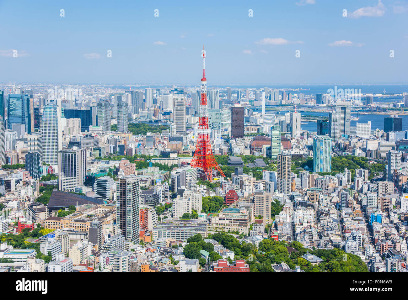 Tokyo Tower view from Roppongi Hills observatory, Minato-Ku,Tokyo,Japan - Stock Image