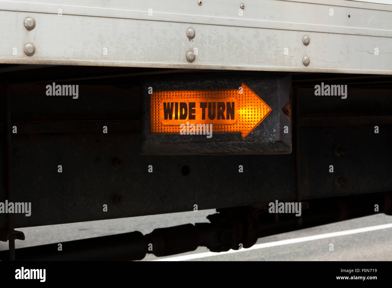Wide Turn signal light on truck - USA - Stock Image
