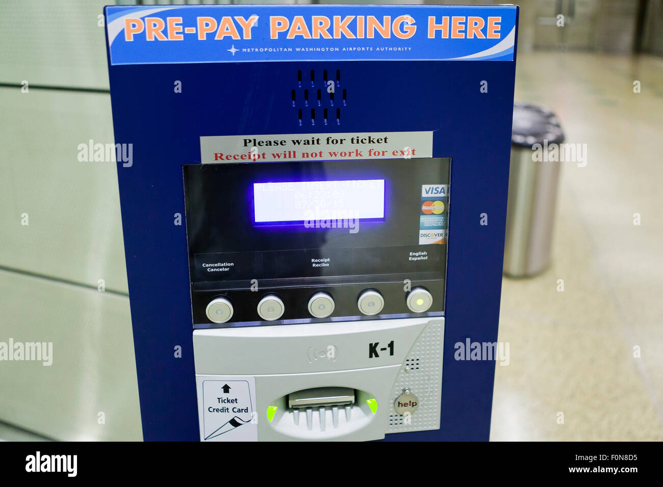 Pre-pay parking meter at airport - USA - Stock Image