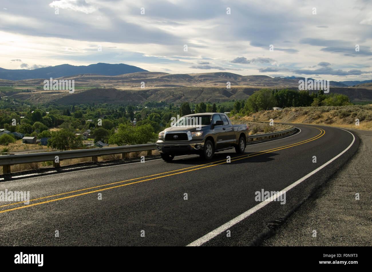Washington, State Highway 20 just south of the Canadian border. Washington, USA. - Stock Image