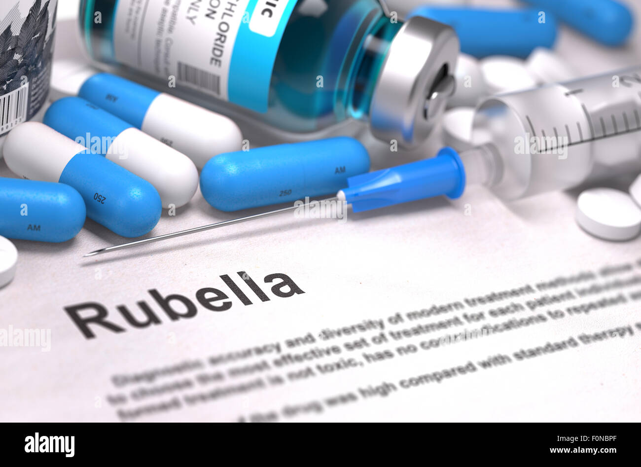 Diagnosis - Rubella. Medical Concept. 3D Render. Stock Photo
