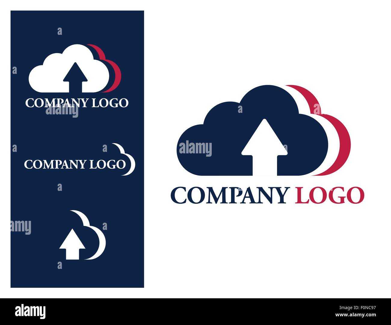 Logo design element. Cloud company logo. Three U.S. colored clouds with upload arrow sign. - Stock Vector