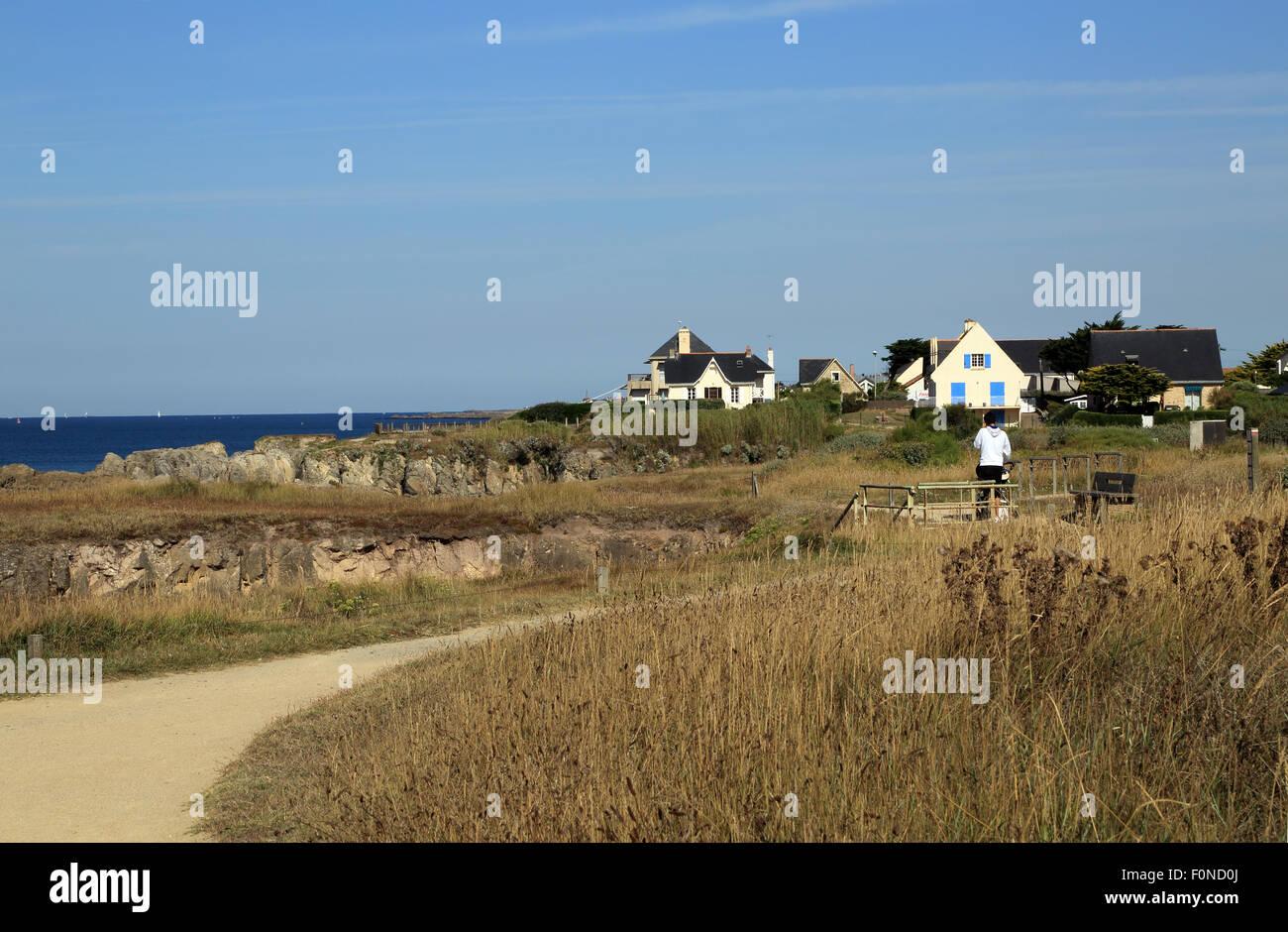 View along Boulevard des Korrigans, Le Pouliguen, Loire Atlantique, France, Europe - Stock Image