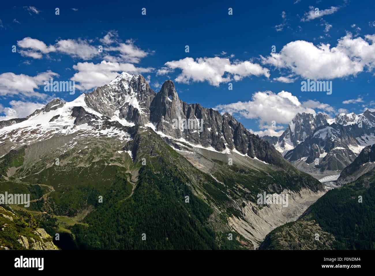 Aiguille Verte peak and Aiguille du Dru, Chamonix, Savoie Alps, Haute Savoie, France - Stock Image