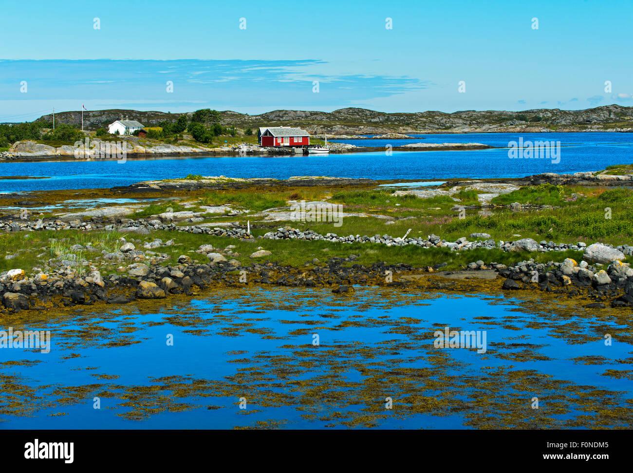 Fjord landscape with a house, Møre og Romsdal, Norway - Stock Image