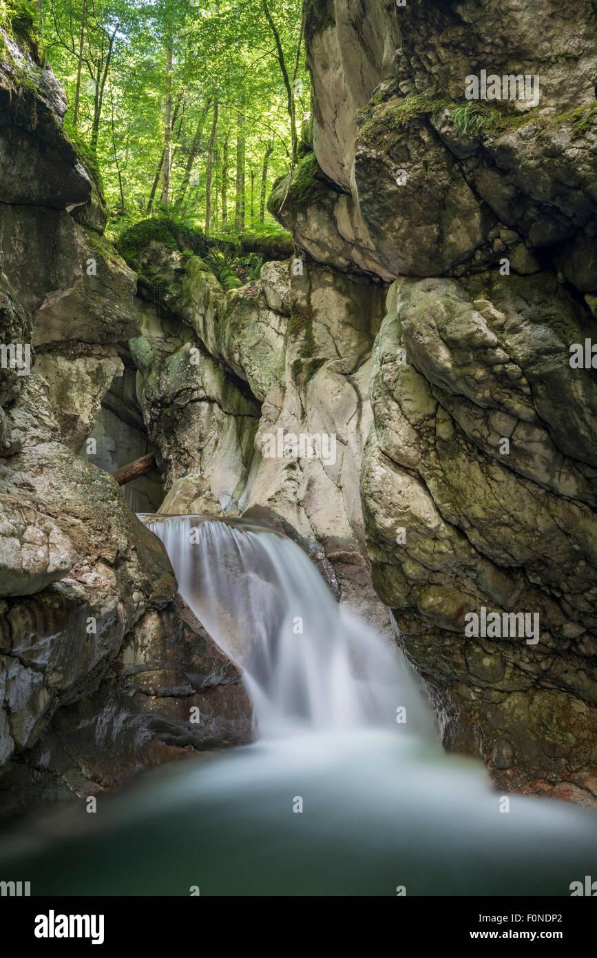 Waterfall in Taugler Strubklamm, Taugl, Hallein District, Salzburg, Austria Stock Photo