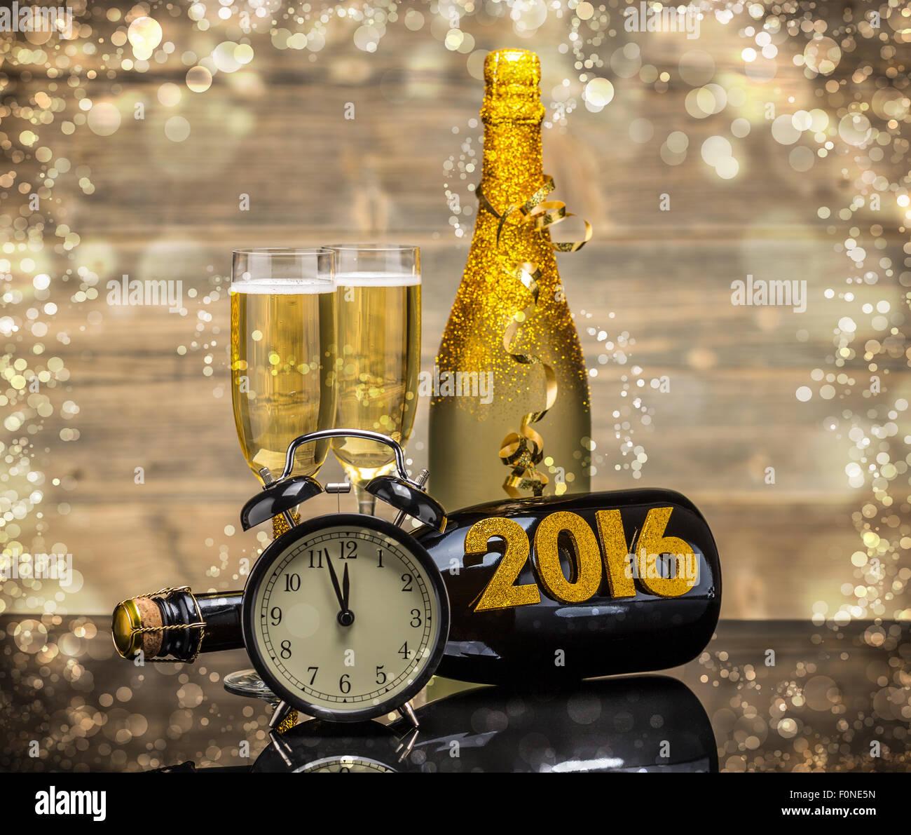 2016 New Years Eve celebration background - Stock Image