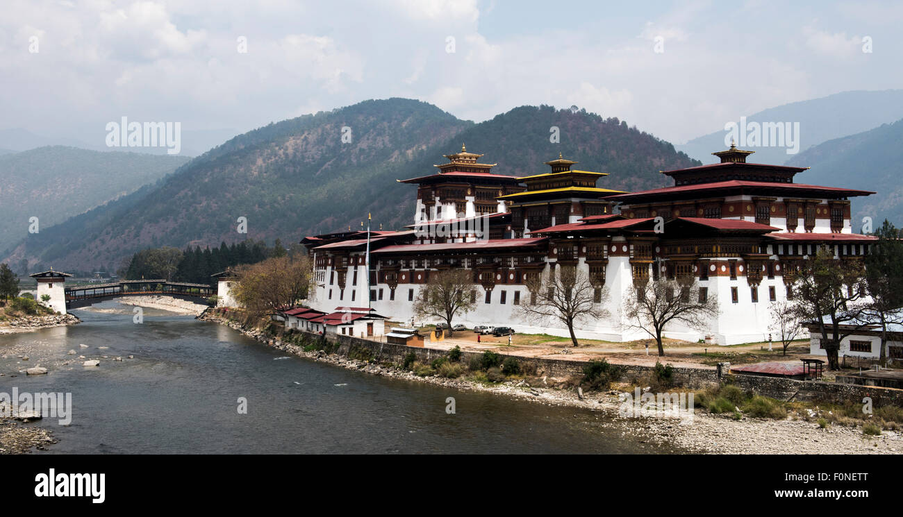 View of Punakha temple (Dzong) Buthan - Stock Image